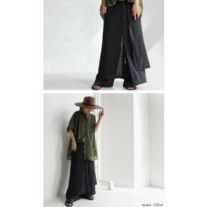 まるでスカートのような上品な佇まい。デザインワイドパンツ・1月12日20時〜再再販。##メール便不可 antiqua 06
