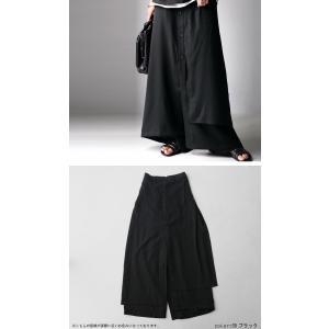 まるでスカートのような上品な佇まい。デザインワイドパンツ・1月12日20時〜再再販。##メール便不可 antiqua 08