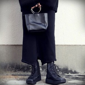 本革 ブーツ 日本製 ブラック 本革スクエア厚底ブーツ・再販。「G」##メール便不可|antiqua|14