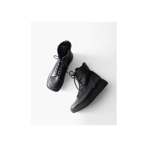 本革 ブーツ 日本製 ブラック 本革スクエア厚底ブーツ・再販。「G」##メール便不可|antiqua|03