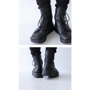 本革 ブーツ 日本製 ブラック 本革スクエア厚底ブーツ・再販。「G」##メール便不可|antiqua|04