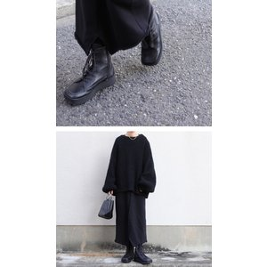 本革 ブーツ 日本製 ブラック 本革スクエア厚底ブーツ・再販。「G」##メール便不可|antiqua|06