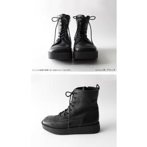 本革 ブーツ 日本製 ブラック 本革スクエア厚底ブーツ・再販。「G」##メール便不可|antiqua|07