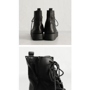 本革 ブーツ 日本製 ブラック 本革スクエア厚底ブーツ・再販。「G」##メール便不可|antiqua|08