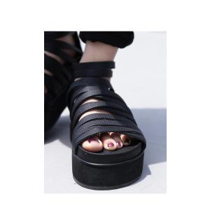 靴 シューズ サンダル 本革 日本製 レディース 厚底 プラットフォームサンダル・##メール便不可|antiqua|03
