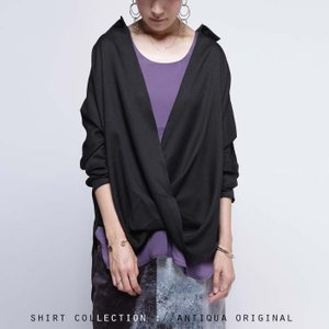 トップス シャツ ドレープ デザイン クロスデザインドレープシャツ・再再販。無地 ##「G」メール便不可|antiqua