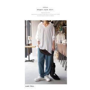 トップス シャツ 長袖 レディース Vネック スキッパー スキッパーシャツ・(50)メール便可|antiqua|12