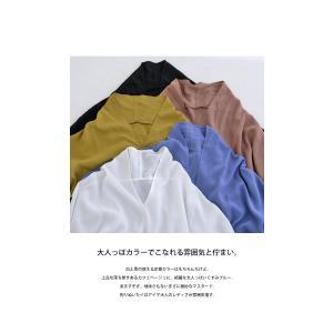 トップス シャツ 長袖 レディース Vネック スキッパー スキッパーシャツ・(50)メール便可|antiqua|15