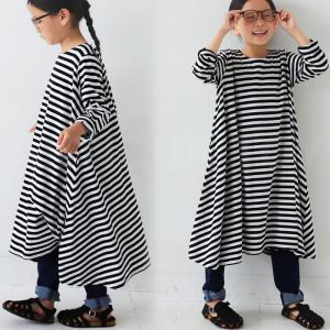 ワンピース フレア ボーダー 子供服 ボーダーフレアワンピース・再販。##メール便不可|antiqua