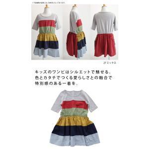 キッズ 子供服 女の子 ワンピース 切替え 半袖 designワンピース・(100)メール便可|antiqua|02