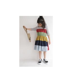 キッズ 子供服 女の子 ワンピース 切替え 半袖 designワンピース・(100)メール便可|antiqua|12