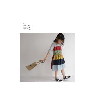 キッズ 子供服 女の子 ワンピース 切替え 半袖 designワンピース・(100)メール便可|antiqua|04