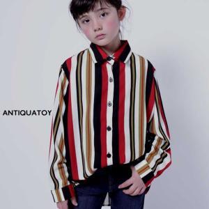 トップス シャツ ストライプ キッズ レジメンタルストライプシャツ・(50)メール便可|antiqua