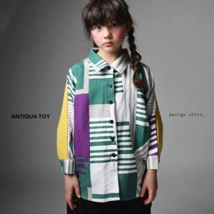 子供服 シャツ トップス キッズシャツ 変形 ドルマン 長袖 麻 アンティカ ・マルチボーダードルマンシャツ・(50)メール便可|antiqua