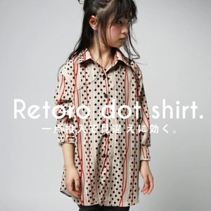 シャツ トップス ブラウス 長袖 キッズ レトロドットシャツ・(50)メール便可|antiqua