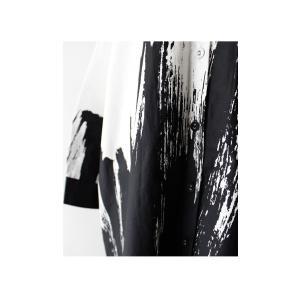 ワンピース シャツ 綿100% モノトーン アート柄シャツワンピ・##メール便不可|antiqua|11