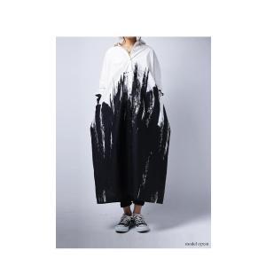 ワンピース シャツ 綿100% モノトーン アート柄シャツワンピ・##メール便不可|antiqua|03