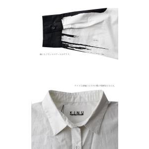 ワンピース シャツ 綿100% モノトーン アート柄シャツワンピ・##メール便不可|antiqua|07