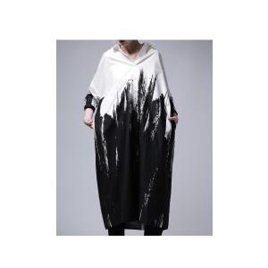 ワンピース シャツ 綿100% モノトーン アート柄シャツワンピ・##メール便不可|antiqua|09