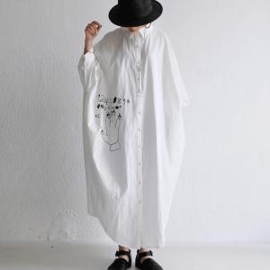 レディース ワンピース シャツワンピ 綿 手描き絵ワンピ・1月26日20時〜発売。##メール便不可|antiqua