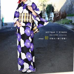 着物 セット 花柄 チェック柄 お宮参り 和服 レトロ花柄着物・帯・付襟3点セット・再販。##「G」メール便不可|antiqua