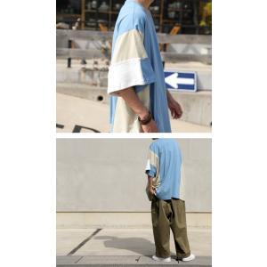 トップス 七分袖 メンズ 綿 プルオーバー Tシャツ カラーブロッキングビッグT・##メール便不可|antiqua|11