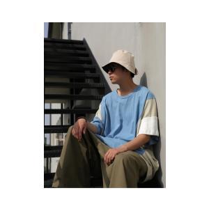 トップス 七分袖 メンズ 綿 プルオーバー Tシャツ カラーブロッキングビッグT・##メール便不可|antiqua|12