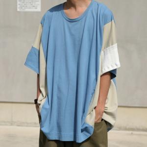 トップス 七分袖 メンズ 綿 プルオーバー Tシャツ カラーブロッキングビッグT・##メール便不可|antiqua|15