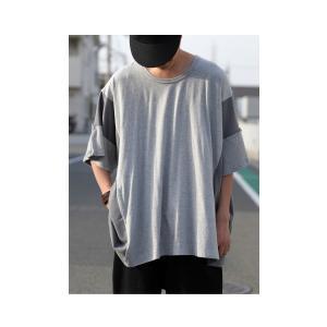 トップス 七分袖 メンズ 綿 プルオーバー Tシャツ カラーブロッキングビッグT・##メール便不可|antiqua|04