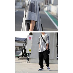 トップス 七分袖 メンズ 綿 プルオーバー Tシャツ カラーブロッキングビッグT・##メール便不可|antiqua|05