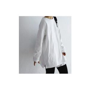 カットソー レディース ロンT トップス 長袖 無地 ゆったりバスク生地 ロングtシャツ・10月15日0時〜再再販。80ptメール便可|antiqua|21