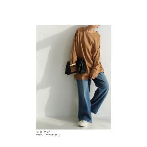 カットソー レディース ロンT トップス 長袖 無地 ゆったりバスク生地 ロングtシャツ・10月15日0時〜再再販。80ptメール便可|antiqua|07