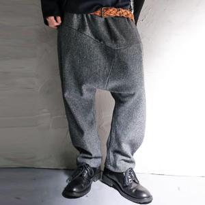 ボトム パンツ ユニセックス ツイード風 デザインサルエルパンツ・20時〜再再販。「G」##メール便不可|antiqua