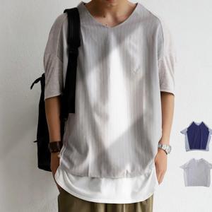 トップス メンズ 半袖 五分袖 ドルマントップス カットソー ストライプドルマントップス・6月19日20時〜発売。(80)メール便可|antiqua