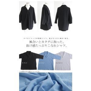 トップス シャツ 七分袖 メンズ 綿 オープンカラー 開襟スキッパーシャツ・「G」(100)メール便可|antiqua|02