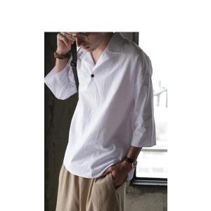 トップス シャツ 七分袖 メンズ 綿 オープンカラー 開襟スキッパーシャツ・「G」(100)メール便可|antiqua|11