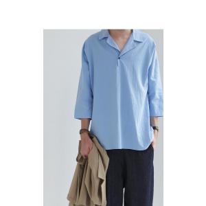 トップス シャツ 七分袖 メンズ 綿 オープンカラー 開襟スキッパーシャツ・「G」(100)メール便可|antiqua|12