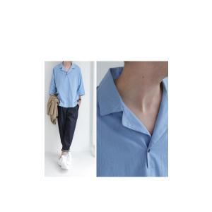 トップス シャツ 七分袖 メンズ 綿 オープンカラー 開襟スキッパーシャツ・「G」(100)メール便可|antiqua|13