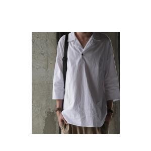 トップス シャツ 七分袖 メンズ 綿 オープンカラー 開襟スキッパーシャツ・「G」(100)メール便可|antiqua|03