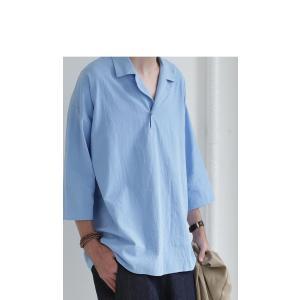 トップス シャツ 七分袖 メンズ 綿 オープンカラー 開襟スキッパーシャツ・「G」(100)メール便可|antiqua|05