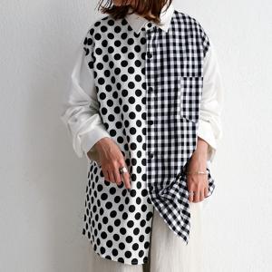 トップス シャツ ドット 水玉 チェック 長袖  デザインシャツ・(100)メール便可|antiqua