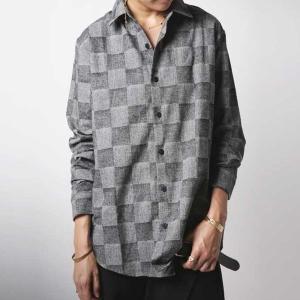 チェック シャツ トップス 綿 メンズ M L XL ヘリンボーンチェックシャツ・12月15日20時〜再販。「G」(100)メール便可|antiqua
