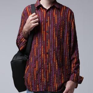 トップス シャツ ストライプ メンズ 柄 デザインストライプシャツ・2月9日20時〜発売。(80)メール便可|antiqua