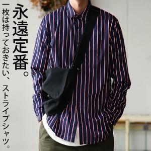 シャツ メンズ トップス ブラウス 長袖 ストライプ 柄 羽織り・9月15日0時〜発売。100ptメール便可|antiqua