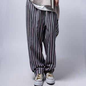 ワイドパンツ サルエル サルエルパンツ パンツ ストライプ ストライプワイドパンツ・5月22日20時〜再再販。「G」##メール便不可|antiqua