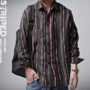 トップス メンズ シャツ 長袖 ストライプ 綿 綿100% マルチストライプシャツ・3月30日20時〜発売。##メール便不可|antiqua
