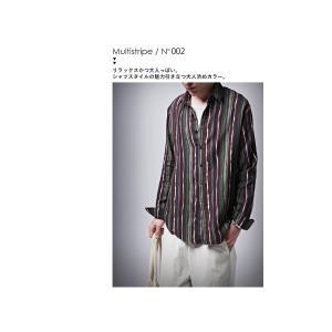 トップス メンズ シャツ 長袖 ストライプ 綿 綿100% マルチストライプシャツ・8月21日20時〜再販。「G」##メール便不可|antiqua|12