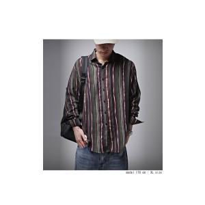 トップス メンズ シャツ 長袖 ストライプ 綿 綿100% マルチストライプシャツ・8月21日20時〜再販。「G」##メール便不可|antiqua|03