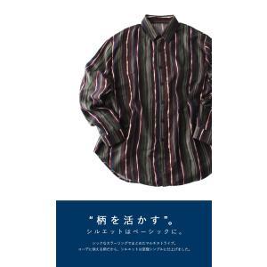 トップス メンズ シャツ 長袖 ストライプ 綿 綿100% マルチストライプシャツ・8月21日20時〜再販。「G」##メール便不可|antiqua|05