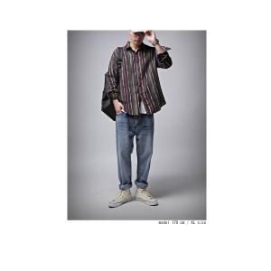 トップス メンズ シャツ 長袖 ストライプ 綿 綿100% マルチストライプシャツ・8月21日20時〜再販。「G」##メール便不可|antiqua|08